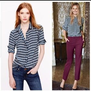 J.crew size 12 owl print blouse 100% silk